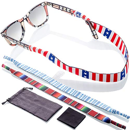 (Sunglass and Glasses Anti Slip Strap - 3pk Active Eyewear Retainer   Bonus Case/Cloth   Fits Kids to Adults)