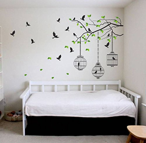 Decals Design 'Tree Branches with Leaves Birds and Cages' Wall Sticker (PVC Vinyl, 50 cm x 70 cm, Multicolour)