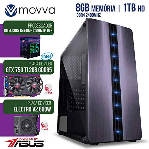 COMPUTADOR GAMER MVX5 INTEL I5 9400F 2.9GHZ 9ª GER MEM 8GB HD 1TB VGA GTX 750 TI 2GB FONTE 600W LINUX - MOVVA