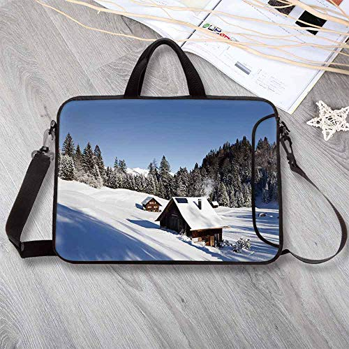 """Winter Wear-Resisting Neoprene Laptop Bag,Log Cabins in The Mountains Sunny Winter Day Rural Scene Holiday Vacation Decorative Laptop Bag for Laptop Tablet PC,17.3""""L x 13""""W x ()"""