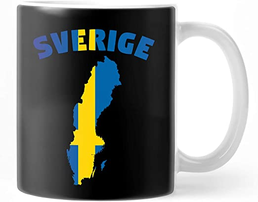 Amazon Com Sverige Swedish Map Flag For Sweden Lovers Coffee Mug 11oz Ceramic Tea Cups Kitchen Dining