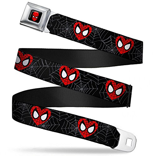 Buckle-Down Buckle-Down Seatbelt Belt Spider-Man Kids Accessory, -Spider-Man Heart Face/Web Black/Gray, 20-36 Inches (Buckle Down Seat Belt)