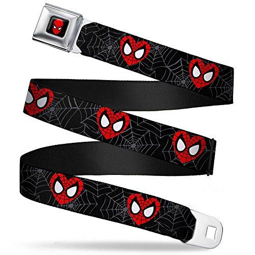 Buckle Down Big Boys Spider-man Heart Face/web Black/gray Seatbelt Belt, multi, Extra Large