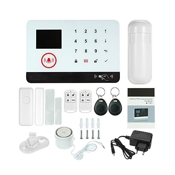 Owsoo Allarme Casa Kit 433MHz Allarme Senza Fili Wireless WIFI + GSM SMS Auto-dial LCD Sistemi di Allarme Domestico di… 1 spesavip