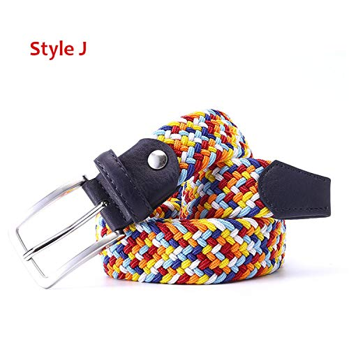 High-end Christmas gifts Mens Leather Braided Elastic Stretch Cross Buckle Casual Golf Belt ()
