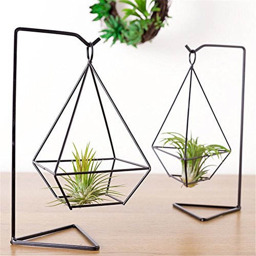 2Pcs Air Plant Holder with Stand Himmeli Hellow Freestanding Hanging Planter Vase Flower Pots for Succulent Plants, Air Plant, Mini Cactus, Faux Plants (Geometric Vase Gold)