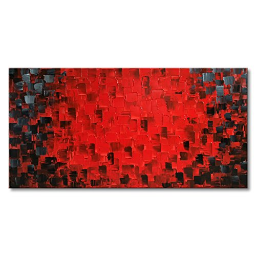 Seekland Art Hand Painted Large Modern Oil Painting Texture Red Abstract Canvas Wall Art Decor Hanging Contemporary Artwork Framed Ready to Hang by Seekland Art