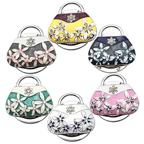 Reizteko Purse Hook,Oil Painting Handbag with White Flower Foldable Handbag Purse Hanger Hook Holder for Tables (Pack of 6) by Reizteko