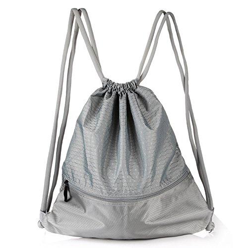 VASKER Large Drawstring Bag Water Resistant Gym Sackpack with Pockets 5 Colors for Choice by VASKER
