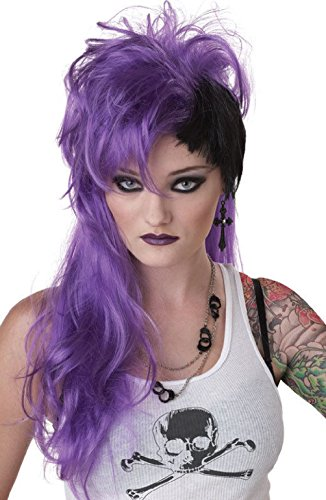 Plus Adult Witch Costumes Punk Purple (Sexy Smash Punk Halloween Costume Wig)