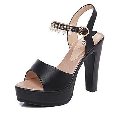 011636424915 Fashion Thick Heel Sandals Women s Platform high Heels Wild Casual Shoes(Black1  36 5.5