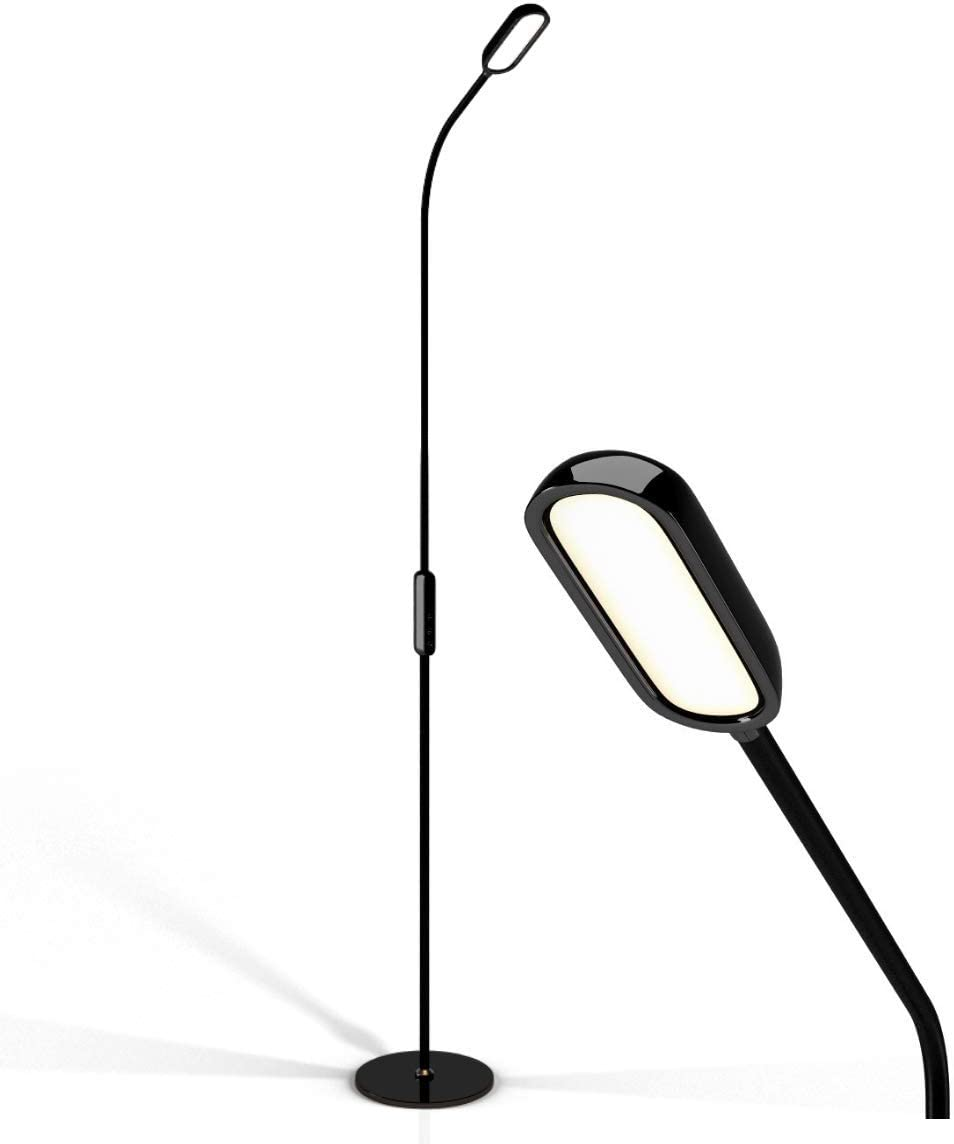 LED Floor Lamp by Lustrat with Flexible Gooseneck for Bedroom, Desk Reading, Living Room, and Office Modern, Tall, Adjustable Light, 5-Level Dimmable, Timer, Remote and Touch Control Black .