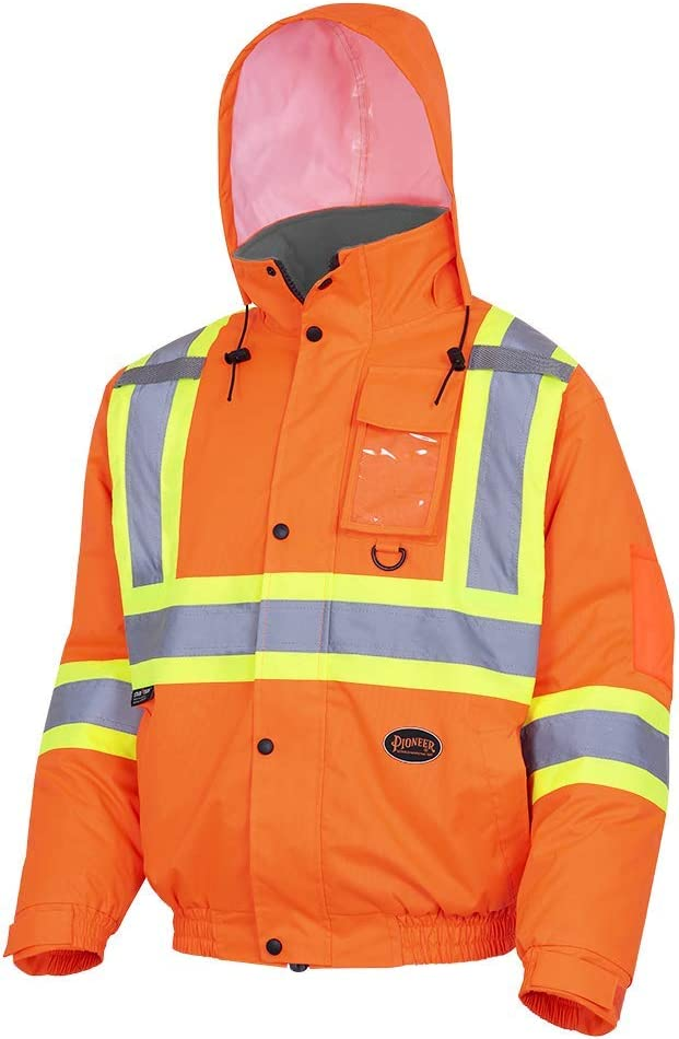 Pioneer V1150250-M Winter Quilted Safety Bomber Jacket-Waterproof Orange M