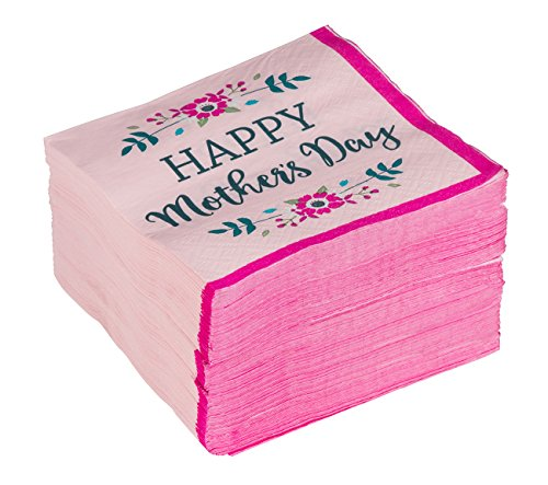 - Happy Mother's Day Napkins - 150-Pack Disposable Paper Napkins, 2-Ply, Pink Floral Design, Mother's Day Party Favors, Pink, 10 X 10 Inches