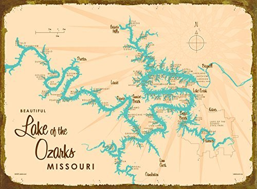 Lake Of The Ozarks Mile Marker Map Amazon.com: Lake of the Ozarks *with mile marker* Map Metal Sign