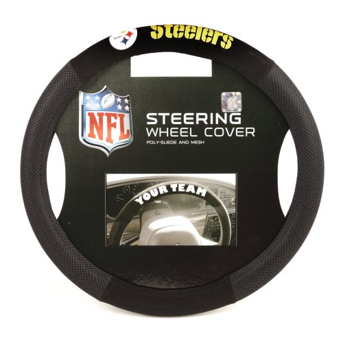 NFL Pittsburgh Steelers Poly-Suede Steering Wheel - In Outlet Mall Pittsburgh