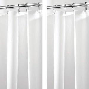 "mDesign Waterproof, Mold/Mildew Resistant, PEVA Shower Curtain Liner for Bathroom Shower and Tub - No Odor- 3 Gauge, 72"" x 84"" - Long - 2 Pack - White"