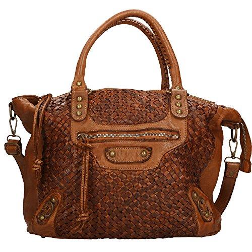 Frau Handtasche Chicca Borse Vintage in echtem geflochtenem Leder Made in Italy 36x27x13 Cm Bräunen
