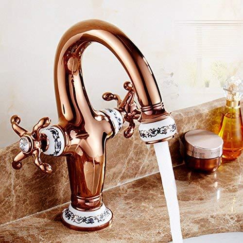 JingJingnet 洗面器の蛇口タップ浴室のシンクの蛇口青いタイル張りのユーロローズゴールドホットとコールド真鍮シンク洗面器の蛇口 (Color : Rose Gold) B07S3SHJTZ Rose Gold
