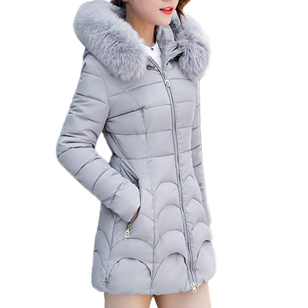 Fantaisiez Manteau Femmes Long à Capuche Veste épais Col de Fourrure Manteaux Femme Coton Hiver Chaud Coat Jacket Parka Slim Pardessus Poche