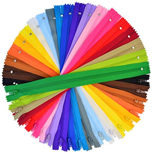100 Pieces Nylon Coil Zippers Bantoye 12 Inches Colorful Sewing Zippers Supplies for Tailor Sewing Crafts 20 Assorted Colors