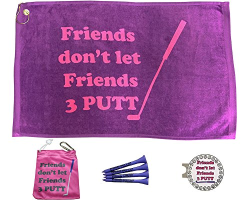 Giggle Golf Par 3 - Friends Don't Let Friends 3 Putt Towel, Tee Bag And Bling Ball Marker With Hat Clip – Perfect Golf Gift For Women -