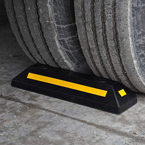 2 Pack Professional Grade Heavy Duty Rubber Parking Guide Car Garage Wheel Stop Stoppers with Yellow Reflective Stripes,for Car,Truck, RV, Trailer, and Garage by CloudBuyer (Image #3)