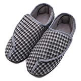 Men's Memory Foam Diabetic Slippers with Adjustable Closures,Extra Wide Width Comfy Warm Plush Fleece Arthritis Edema Swollen House Shoes (8 M US, Gray Plaid)