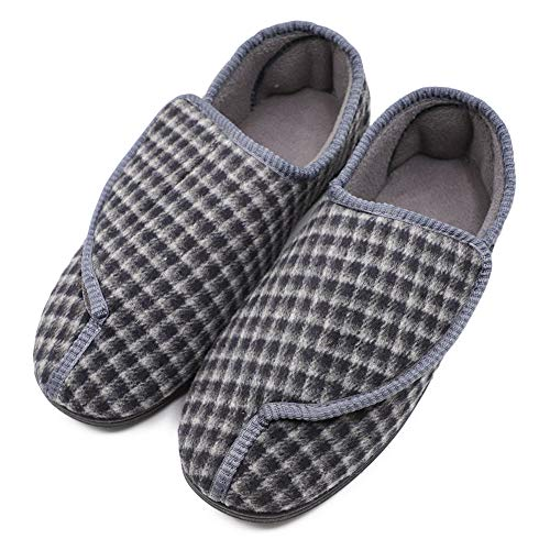Men's Memory Foam Diabetic Slippers with Adjustable Closures,Extra Wide Width Comfy Warm Plush Fleece Arthritis Edema Swollen House Shoes (8 M US, Gray Plaid)