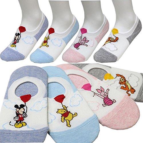 Women's 4pk No Show Socks balloon Mickey Mouse Winnie-the-Pooh Piglet Tigger Disney Character Girl's Socks / Socks (Pooh Socks)