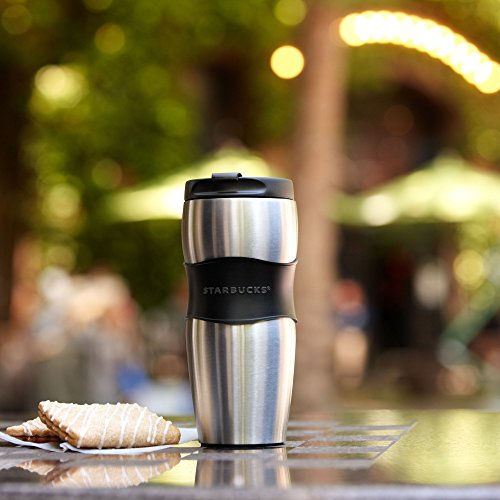Starbucks Stainless Steel Lucy Classic Rubber Grip Travel Tumbler Thermos Mug - 16 fl (Rubber Grip Tumbler)