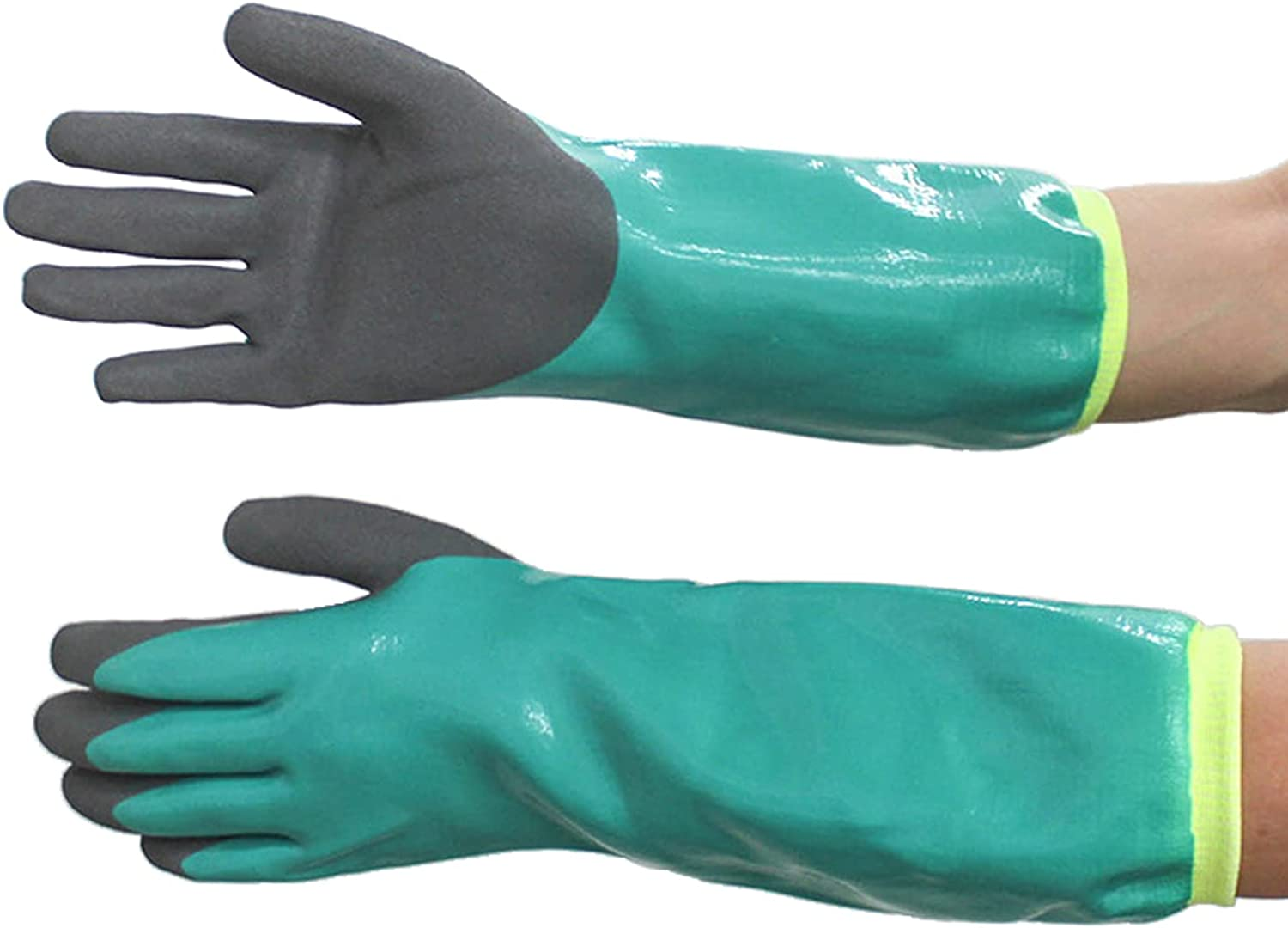 Stab-resistant Pond Cleaning Gloves are Made of Rubber, chemical resistant,16.9 Inches , Chemical Resistance, Warmth, Breathability, Four Seasons, Universal Protection for all Workplaces, One Pairs