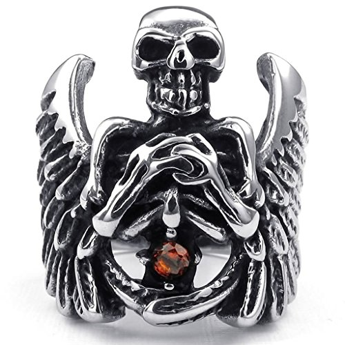 Bishilin Stainless Steel Fashion Men's Rings Punk Gothic Angel Wing Skull CZ Ring Silver Red Size - Band Wings Malaysia