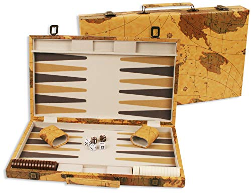 18 inch Leatherette Backgammon set with Beautiful Old World Map Design ()