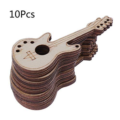 (dfsdmlp 10pcs Laser Cut Wood Guitar Embellishment Wooden Shape Craft Wedding Decor )