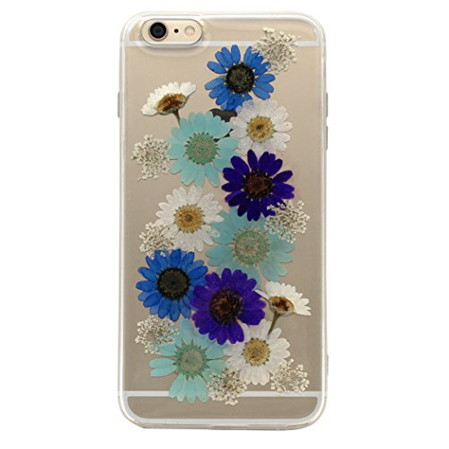 iPhone 6s Plus Case,iPhone 6 Plus Case, Clear TransparentReal Dried Flower and Leaf Embedded, Soft Silicone TPU Case, Real Handmade Pressed Dried Flowers Case for 5.5 Inch (Transparent Series 2)