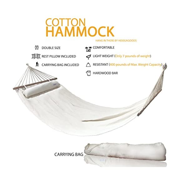 HoogaGoods Hang in There Cotton Hammock (White, Double, Set of 1). Comes with Pillow. Perfect Hammock for Patio - * HEAVY DUTY DESIGN – Our Hang In There Hammock is design with 900 feet of twisted cotton ropes to ensure quality comfort. * HIGH CAPACITY DOUBLE HAMMOCK – Its wide frame allows for 400 lbs weigh capacity which makes it perfect for two individuals entire relaxation. * HARDWOOD SPREADERS – Our hammock is design with two hardwood high capacity spreaders at each end to allow for extended comfort. - patio-furniture, patio, hammocks - 51kfo3uwVCL. SS570  -