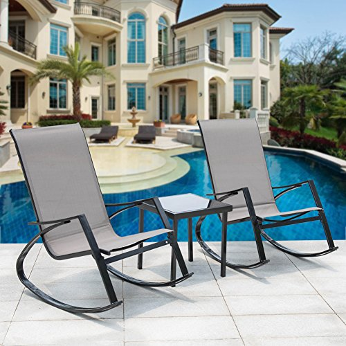 Sundale Outdoor 3Pcs Bistro Set Rocking Lounger Patio Garden Pool 2 Chairs with Glass Table Set (Cheap Outdoor Table And Chairs Set)