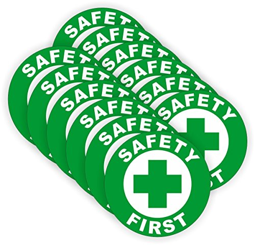 (12 PACK) Safety First circle by StickerDad - size: 2'' ROUND color: GREEN/WHITE - Full Color Printed Sticker for Hard Hat, Helmet, Windows, Walls, Bumpers, Laptop, Lockers, etc. by StickerDad