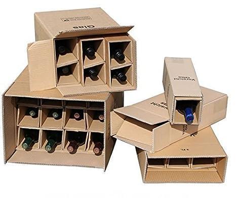 5 x 1 Botellas Caja de Envío para Botellas de Vino UPS DHL probado Caja vino Vino botellas envío Embalaje 5 completo Cajas: Amazon.es: Oficina y papelería