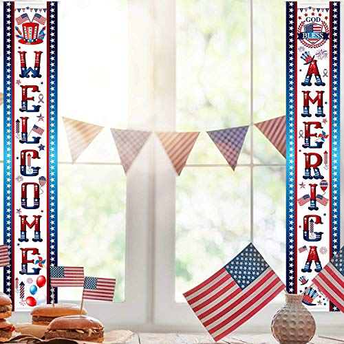 Fourth of July Decoration Patriotic Porch Sign Welcome Sign Decoration Set 4th of July Patriotic Welcome Banner Patriotic Party Supply Decor Independence Day Decorations