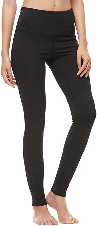 AFUOWER Womens High Waisted Mesh Yoga Leggings with 2 Pockets,Tummy Control Workout Running 4 Way Stretch Yoga Pants
