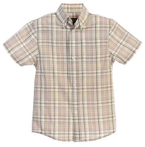 Gioberti Little Boys Plaid Short Sleeve Shirt, Khaki/White/Olive, Size 16