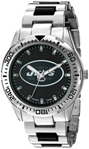 Game Time Men's 'Heavy Hitter'  Metal and Alloy Quartz Analog  Watch, Color:Silver-Toned (Model: NFL-HH-NYJ)