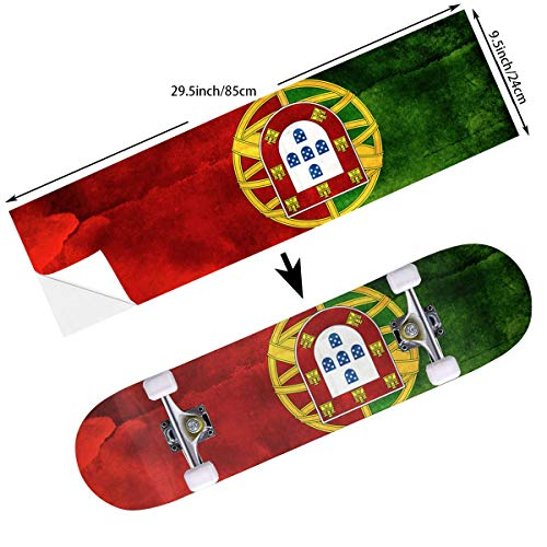 Flag Skateboard Deck - STREET FFX Fashion Funny Skateboard Cruiser Deck and Balance Board Stickers Decals Grip Tape - 9.5 x 33.5 Inches - Portugal Flag Art