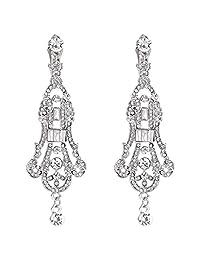 EVER FAITH Austrian Crystal Art Deco Chandelier Wedding Dangle Earrings Clear