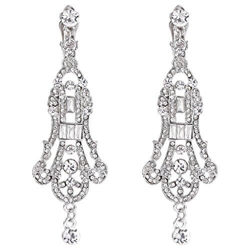 EVER FAITH Austrian Crystal Art Deco Chandelier Wedding Clip-on Dangle Earrings Clear Silver-Tone