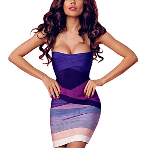 Strapless Bandage - HLBandage Strapless colorful Stretch Party Rayon Mini Bandage Dress(M,Purple Gradient)