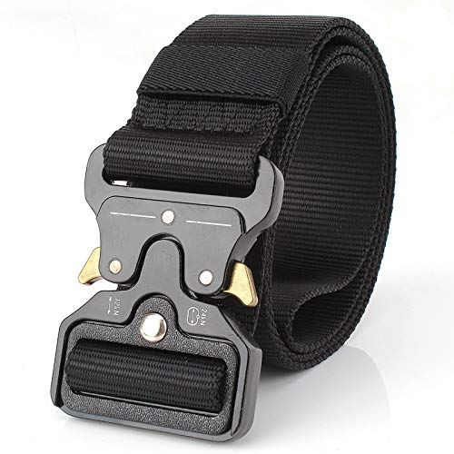 YuKing Mens Tactical Belt, W/1.5-1.7 Military Nylon Waist Belt with Metal Buckle Adjustable Combat Equipment Belt Heavy Duty Army Training Carry Waist Belt (Black W/1.7 inches)