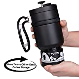 Double Shot 3.0 French Press Travel Coffee Mug, 16 oz - Brü-Stop Technology with Storage Base and Spill Proof Lid - Stainless Steel with Non-Slip Texture - Obsidian Black